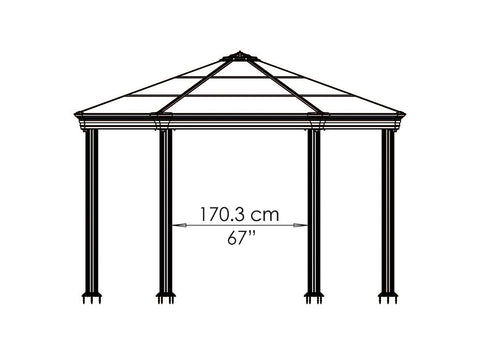 Image of Roma Garden Gazebo - side view of framework with dimensions - white background