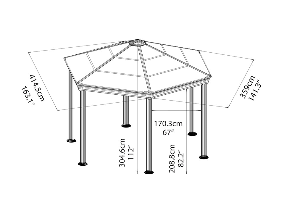 Roma Garden Gazebo - full view of framework with dimensions- white background