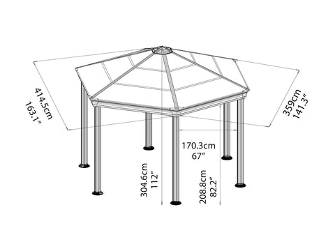 Image of Roma Garden Gazebo - full view of framework with dimensions- white background