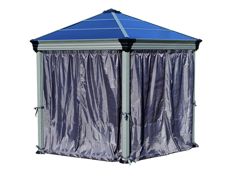Roma Gazebo Curtain Set enclosing a gazebo - white background