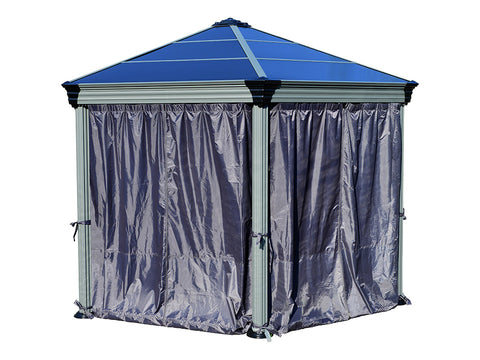 Image of Roma Gazebo Curtain Set enclosing a gazebo - white background
