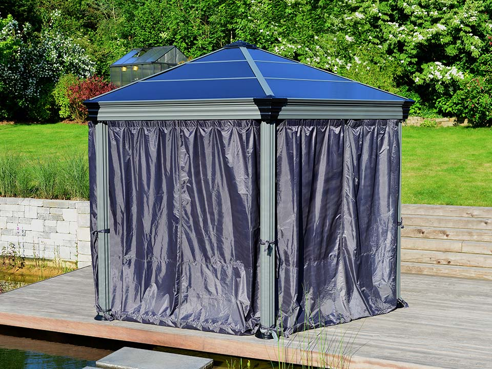 Roma Gazebo Curtain Set enclosing a gazebo - in garden