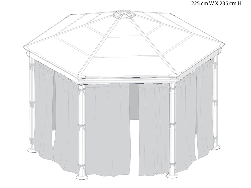 Roma Gazebo Curtain Set enclosing a gazebo with dimensions - white background