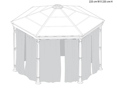 Image of Roma Gazebo Curtain Set enclosing a gazebo with dimensions - white background