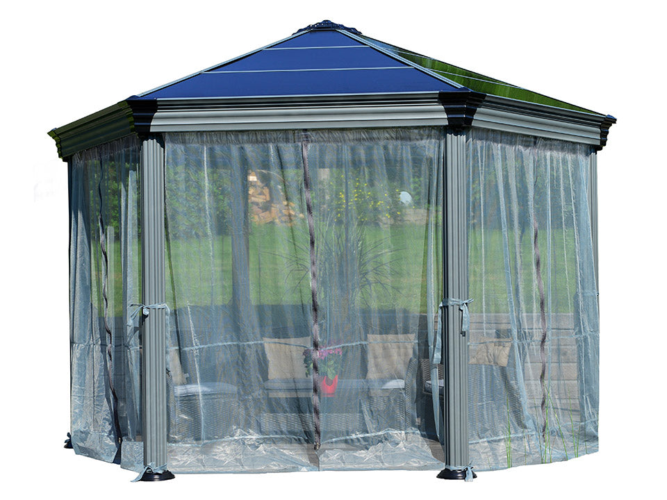 Roma Gazebo Netting Set enclosing a gazebo - white background