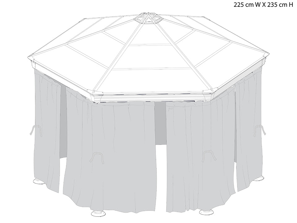 Roma Gazebo Netting Set enclosing a gazebo - white background with dimensions