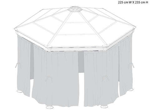 Image of Roma Gazebo Netting Set enclosing a gazebo - white background with dimensions