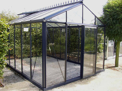 Janssens Royal Victorian VI34 Greenhouse 10ft x 15ft with a steel blue frame