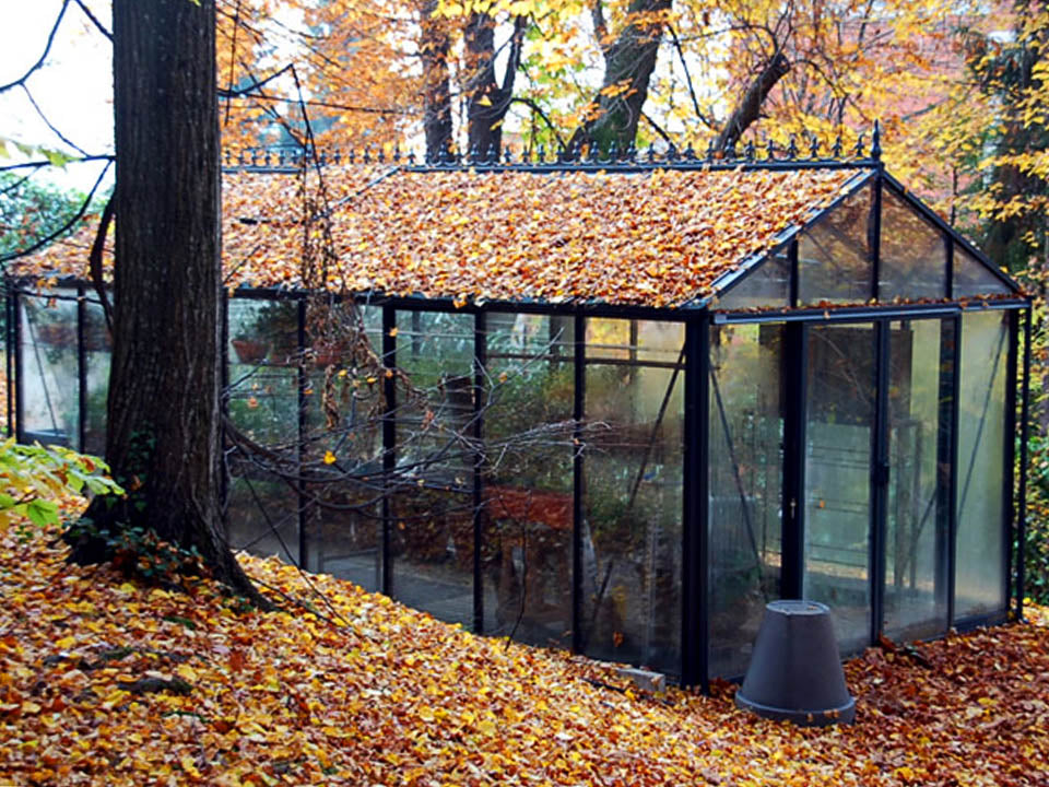 Janssens Royal Victorian VI36 Greenhouse 10ft x 20ft in fall with foliage on roof and ground
