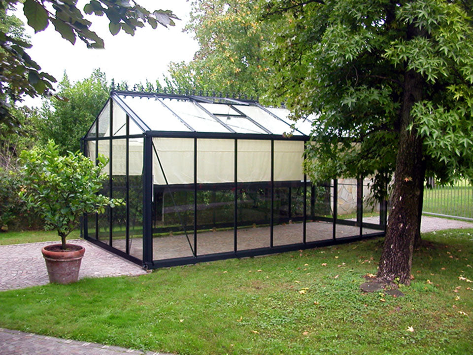 Side view of the Janssens Royal Victorian VI36 Greenhouse 10ft x 20ft
