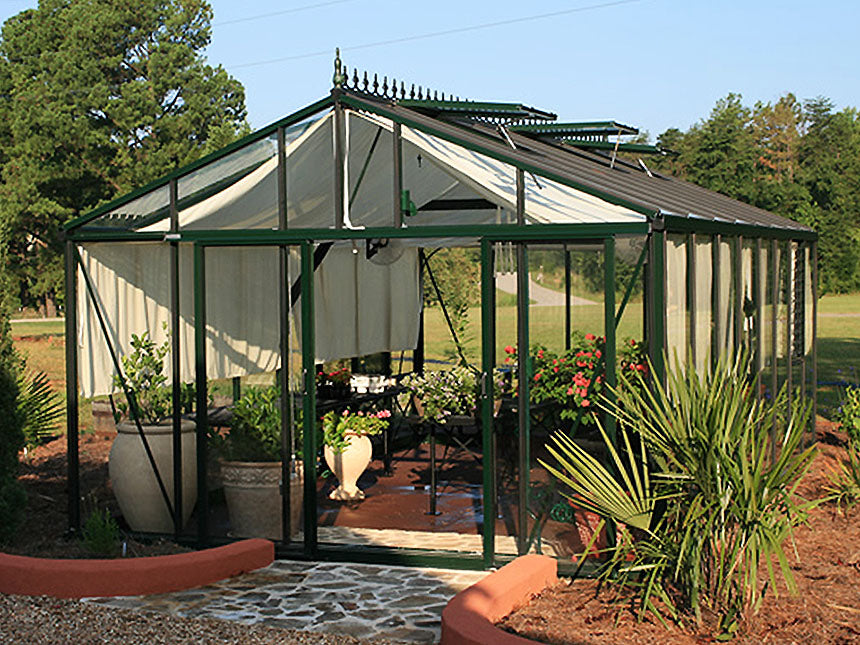 Front view of the Janssens Royal Victorian VI46 Greenhouse 13ft x 20ft with stretched out curtains
