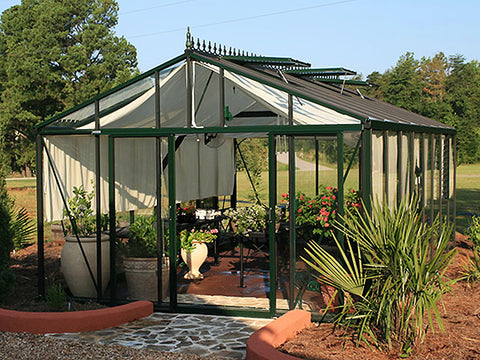 Image of Front view of the Janssens Royal Victorian VI46 Greenhouse 13ft x 20ft with stretched out curtains