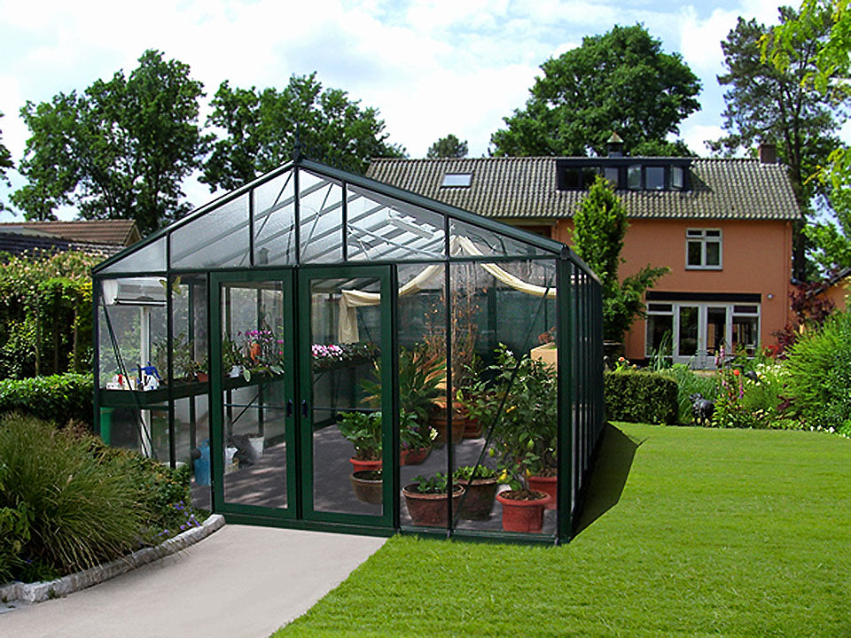 Front view of the Janssens Royal Victorian VI46 Greenhouse 13ft x 20ft