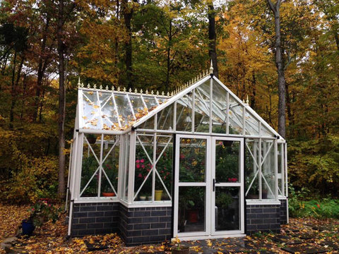 Front view of the T-Shaped Royal Victorian Antique Orangerie 13ft x 16ft in fall season