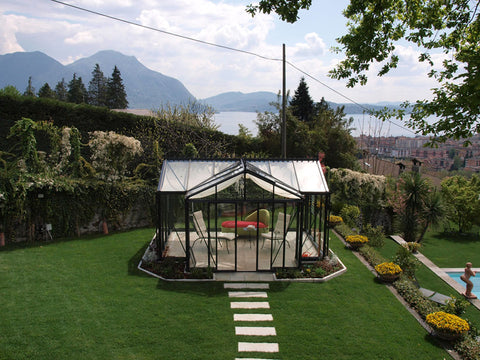 Image of Janssens T-Shaped Royal Victorian Orangerie 10ft x 16ft in a garden with great view of mountains and a lake