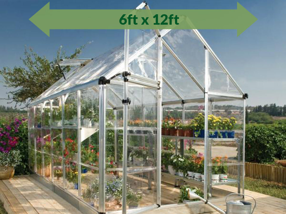 Full view of the Palram 6ft x 16ft Snap & Grow Hobby Greenhouse with green arrow for Palram Hobby Greenhouses