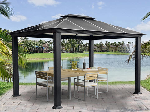 Paragon Santa Monica Hard Top Gazebo 11ft x 13ft with dining set