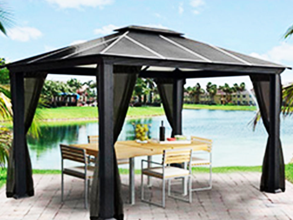 Santa Monica 11x13 Hard Top Gazebo with Mosquito Netting