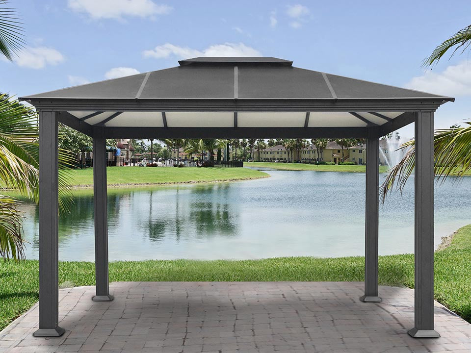 Paragon Santa Monica Hard Top Gazebo 11ft x 13ft Front View