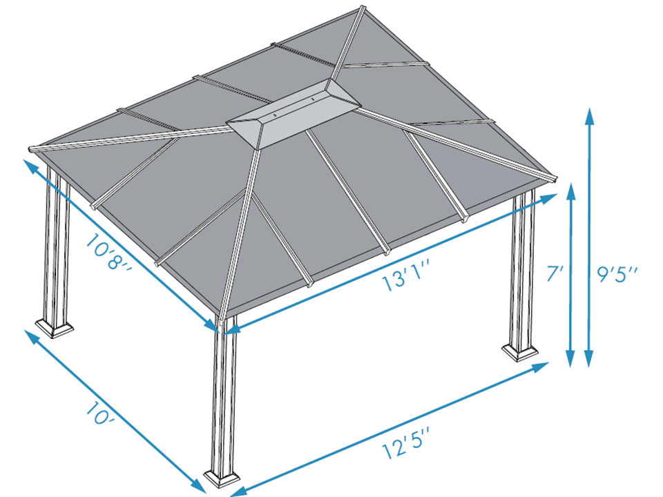 Paragon Santa Monica Hard Top Gazebo 11ft x 13ft Dimensions