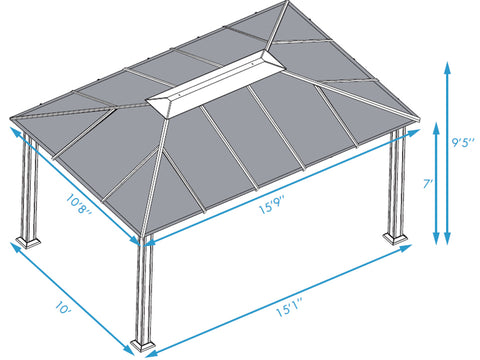 Santa Monica 11x16 Hard Top Gazebo Dimensions