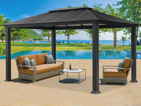 Santa Monica 11x16 Hard Top Gazebo with dining set