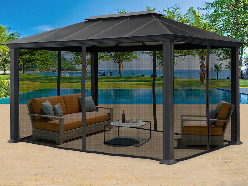 Extended room inside Santa Monica 11x16 Hard Top Gazebo With Mosquito Netting