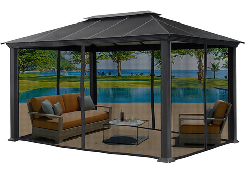 Santa Monica 11x16 Hard Top Gazebo With Closed Mosquito Netting