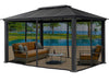 Image of Santa Monica 11x16 Hard Top Gazebo With Closed Mosquito Netting