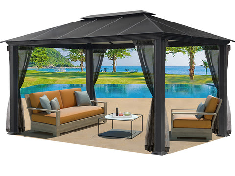Santa Monica 11x16 Hard Top Gazebo With Open Mosquito Netting