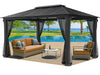 Image of Santa Monica 11x16 Hard Top Gazebo With Open Mosquito Netting
