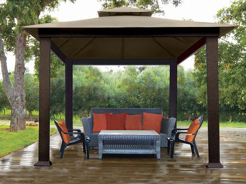 Savannah Gazebo with Cocoa Top Front View