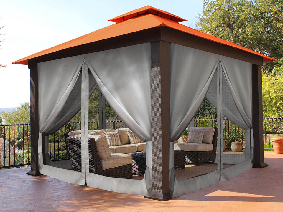Seville Gazebo with Rust Top and Privacy Curtains and Mosquito Netting 12ft x 12ft