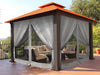 Image of Seville Gazebo with Rust Top and Privacy Curtains and Mosquito Netting 12ft x 12ft