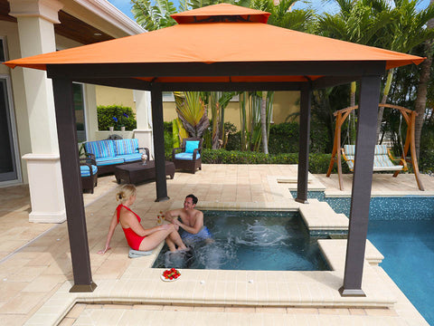 A pool under Savannah Gazebo with Rust Top