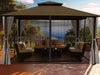 Image of Sedona Gazebo with Cocoa Color roof and Open Privacy Curtains and Closed Mosquito Netting