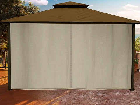 Sedona Gazebo with Cocoa Color roof and Closed Privacy Curtains and Mosquito Netting