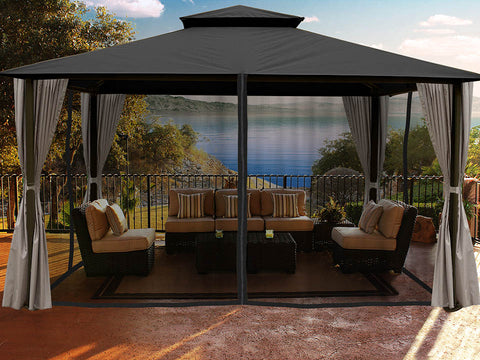 Sedona Gazebo with Grey Color roof and Open Privacy Curtains and Closed Mosquito Netting
