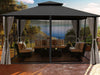 Image of Sedona Gazebo with Grey Color roof and Open Privacy Curtains and Closed Mosquito Netting