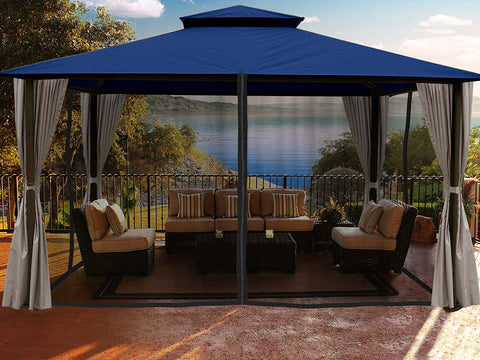 Sedona Gazebo with Navy Color roof and Open Privacy Curtains and Closed Mosquito Netting