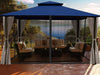Image of Sedona Gazebo with Navy Color roof and Open Privacy Curtains and Closed Mosquito Netting