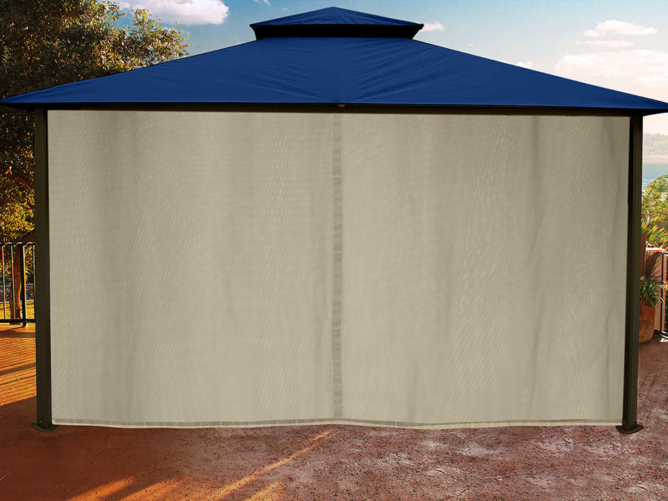Sedona Gazebo with Navy Color roof and Closed Privacy Curtains and Mosquito Netting