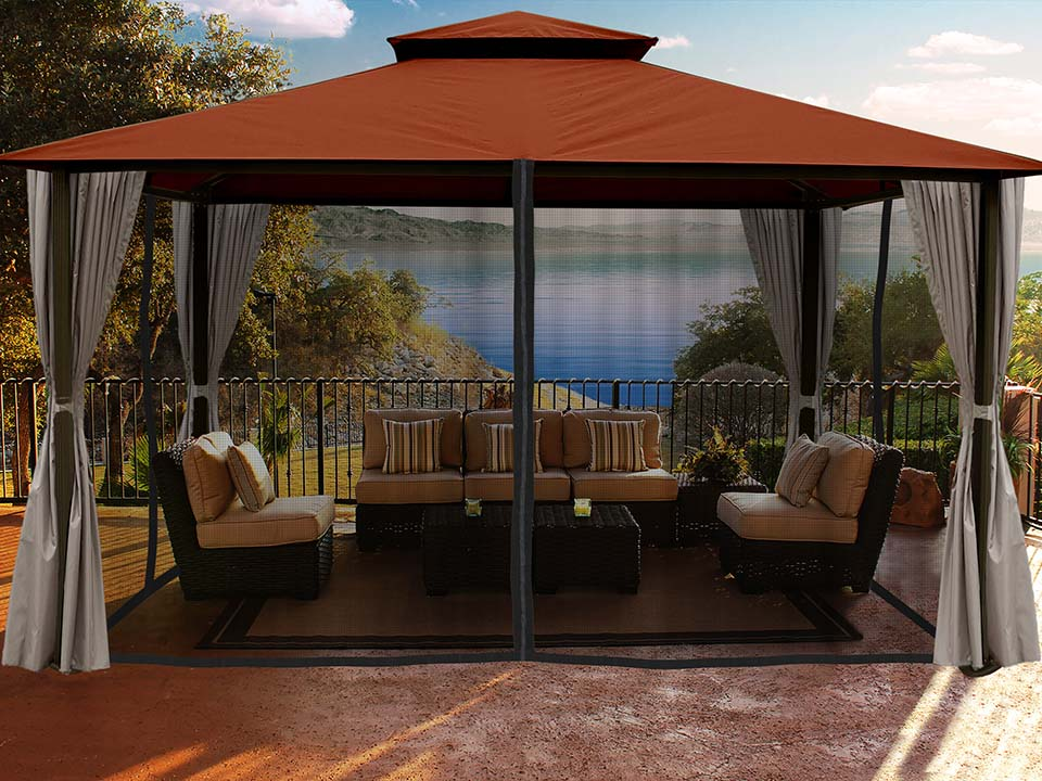 Sedona Gazebo with Rust Color roof and Open Privacy Curtains and Closed Mosquito Netting
