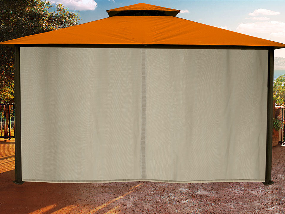 Sedona Gazebo with Rust Color roof and Closed Privacy Curtains and Mosquito Netting