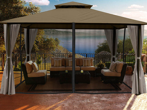 Sedona Gazebo with Sand Color roof and Open Privacy Curtains and Closed Mosquito Netting
