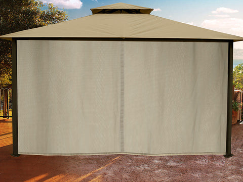 Sedona Gazebo with Sand Color roof and Closed Privacy Curtains and Mosquito Netting