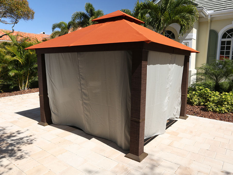 Seville Gazebo with Rust Top and Closed Privacy Curtains and Mosquito Netting