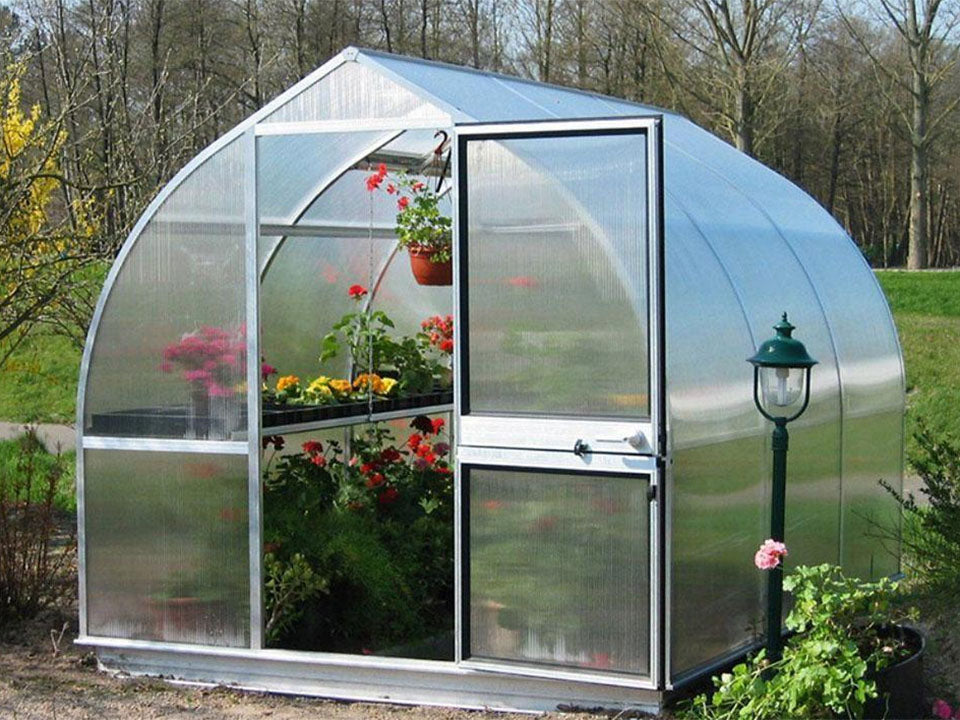 Bottom shelf with potted plants on the left side of an open door greenhouse