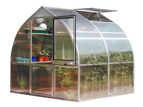 Image of Top and bottom shelf on the left side of a partially opened greenhouse with white background