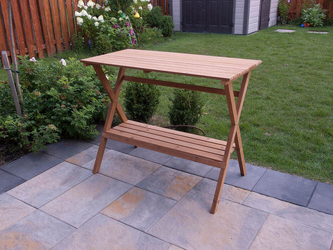 Empty Simple Potting Bench in the garden